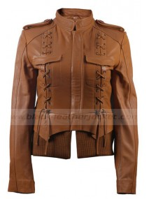 Designer Brown Leather Bomber Jacket for Womens