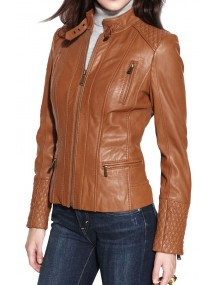Designer Womens Brown Leather Motorcycle Jacket