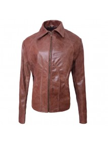 Jennifer Lopez Distressed Brown Leather Jacket