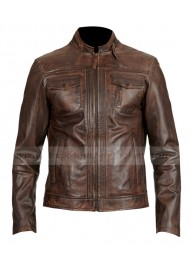 Collarless Distressed Brown Leather Motorcycle Jacket Mens