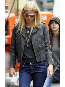 Gwyneth Paltrow Distressed Black Leather Jacket