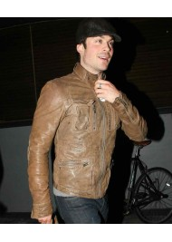 Distressed Ian Somerhalder Brown Leather Motorcycle Jacket