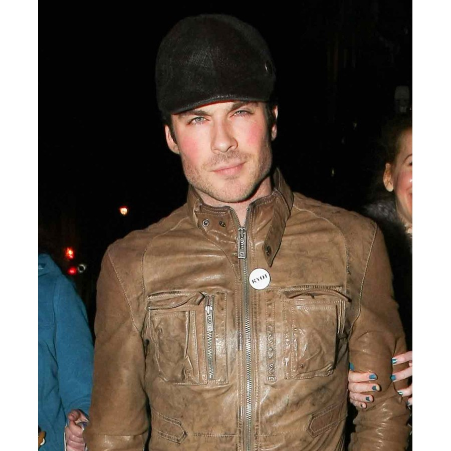 Ian Somerhalder Leather Jacket | Distressed Brown Motorcycle Jacket