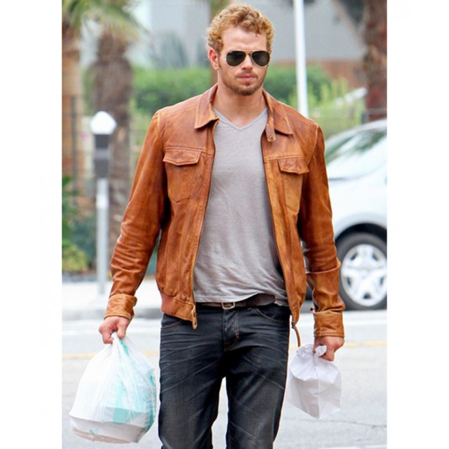 Kellan Lutz Jacket | Mens Distressed Tan Brown Leather Jacket