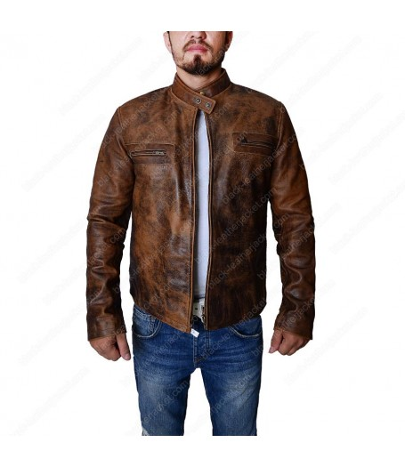 Tom Cruise Oblivion Premiere Distressed Brown Leather Jacket
