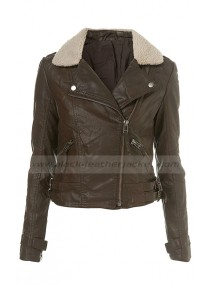 Doctor Who Amy Pond Fleece Collar Brown Faux Leather Biker Jacket