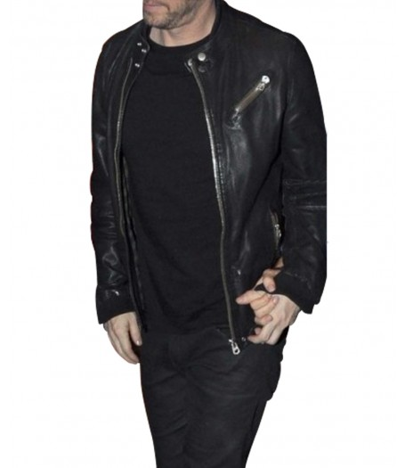 Donnie Wahlberg Black Leather Jacket