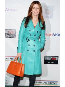 Actress Dana Delany Stylish Double Breasted Leather Coat