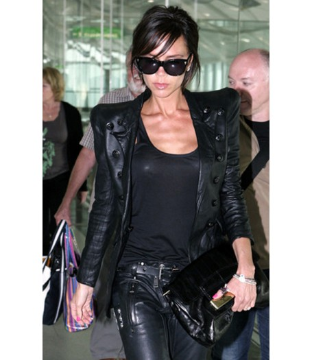 Victoria Beckham Double Breasted Black Leather Jacket