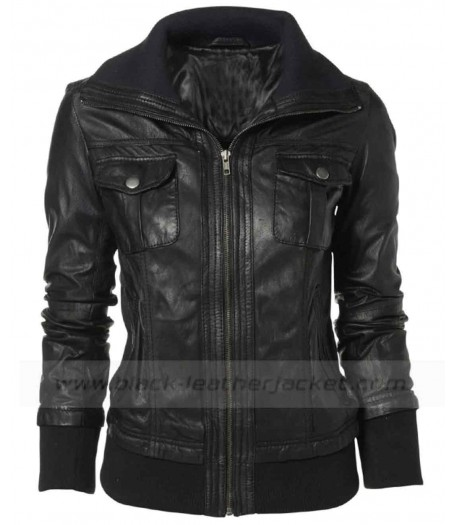 Double Collar Black Leather Bomber Jacket Women