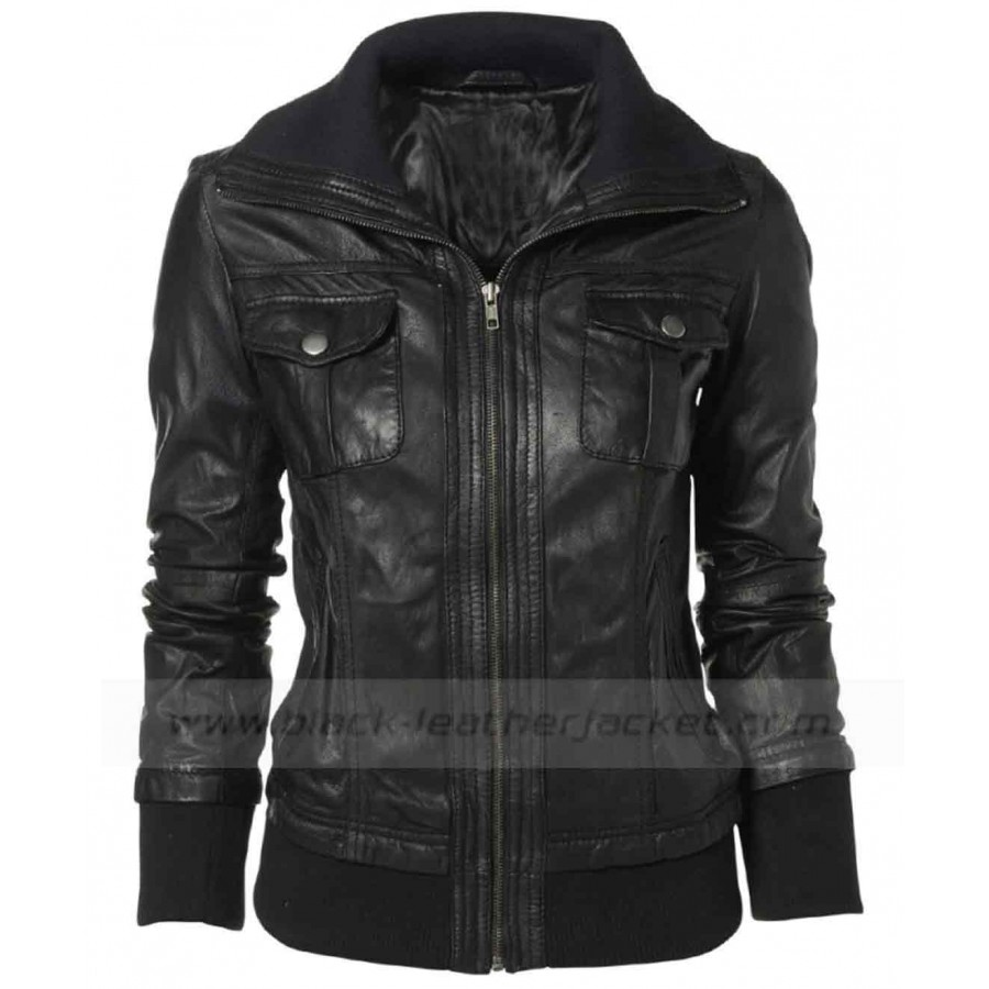 Double Collar Leather Jacket | Black Bomber Jacket for Women