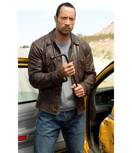 Race to Witch Mountain Dwayne Johnson Brown Leather Jacket