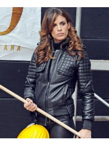 Elisabetta Canalis Quilted Black Leather Jacket