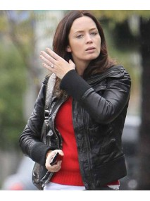 Emily Blunt Studio Los Angeles Rain Black Leather Jacket