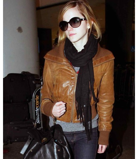 Emma Watson Brown Leather Jacket Women