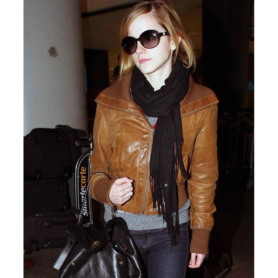Emma Watson Jacket | Brown Leather Jacket Women