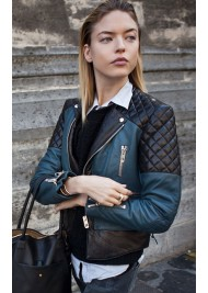 Fashion Model Martha Hunt Street Style Leather Jacket