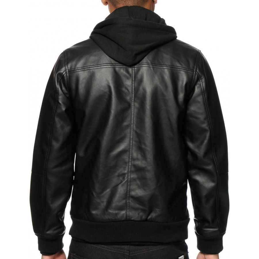 552234f7fdc Men's Faux Black Leather Hooded Jacket