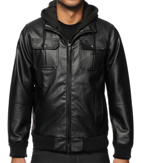 Men's Faux Black Leather Hooded Jacket