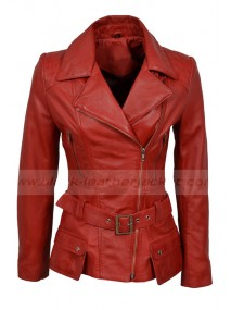 Feminine Womens Red Retro Vintage Leather Biker Jacket