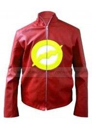 Flash Logo Red Leather Jacket Men