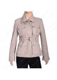Womens Four Pocket Stone Leather Coat