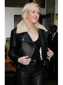 Ellie Goulding Jacket with Fur Collar