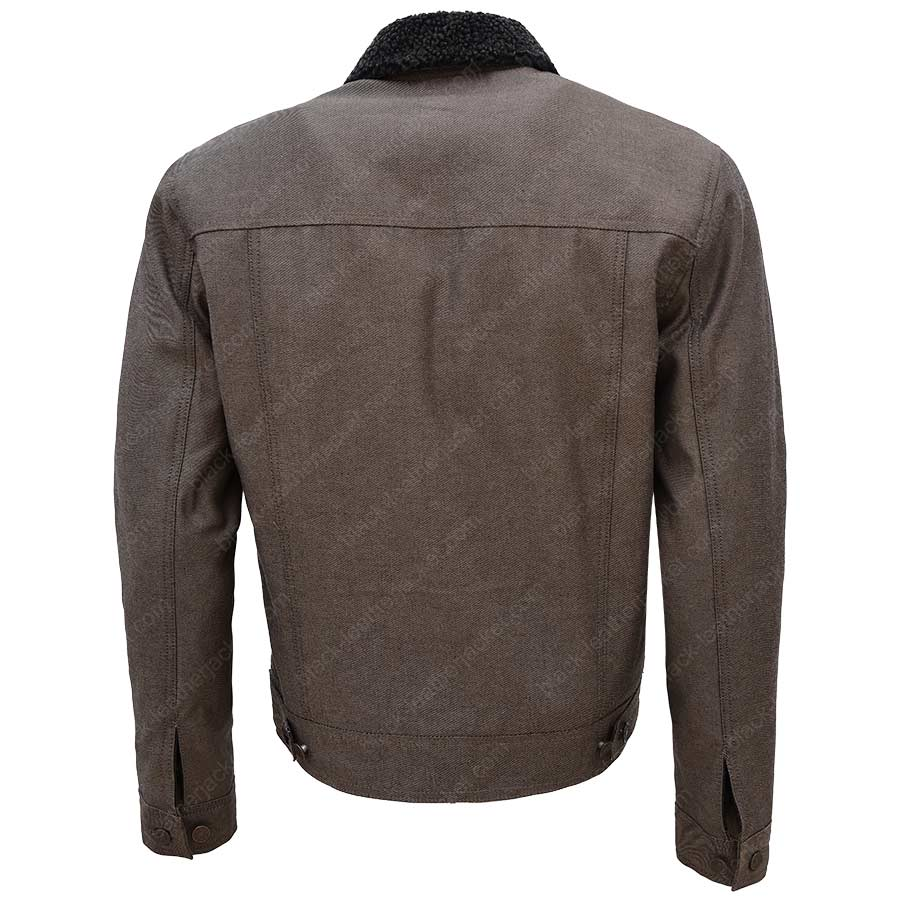 Sheepskin denim jacket mens