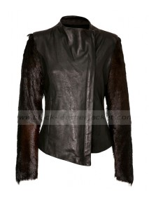 Lindsay Lohan Fur Sleeve Black Leather Jacket