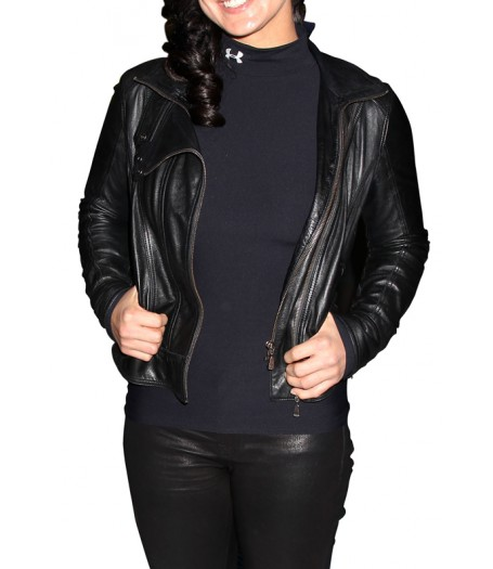 Gina Carano Black Leather Jacket