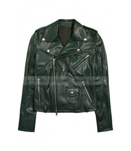 Green Biker Rihanna Leather Jacket