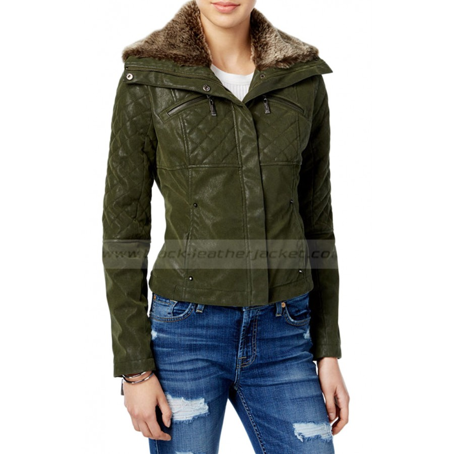 Green Faux Leather Bomber Jacket Womens With Fur Collar