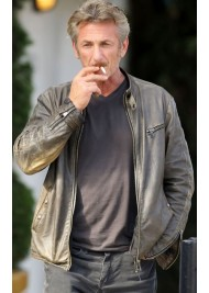 Sean Penn Grey Leather Jacket