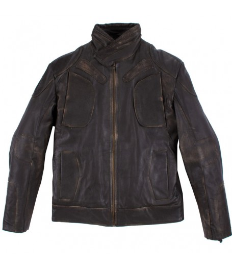 Guy Pearce Snow Lockout Distressed Brown Leather Jacket
