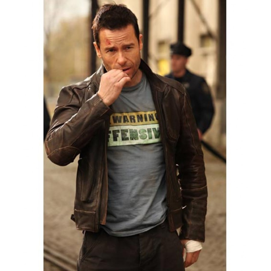 Guy Pearce Snow Lockout Jacket Distressed Brown Leather Jacket