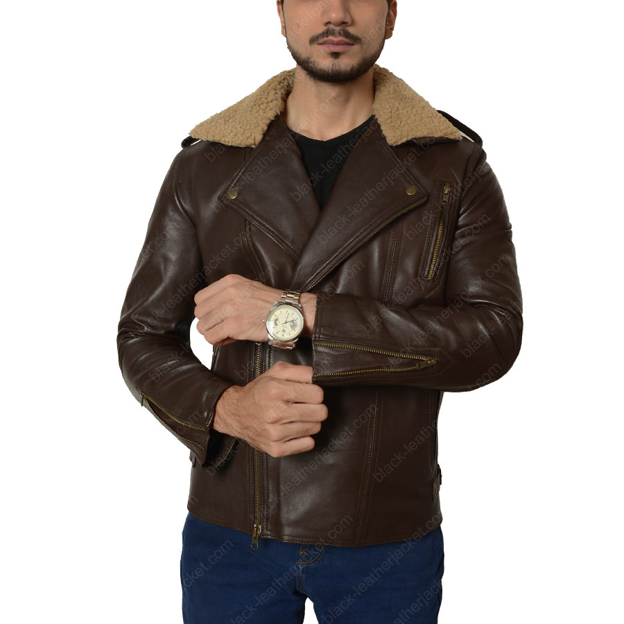 Harry Styles Leather Jacket   Mens Brown Jacket with Fur Collar
