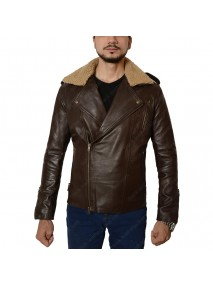 Harry Styles Brown Leather Jacket with Fur Collar