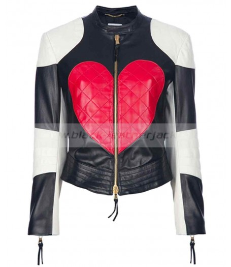 Heart Kylie Minogue Black and White Leather Jacket