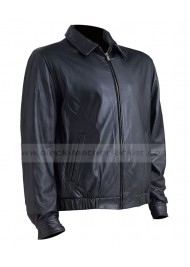 High Quality Black Leather Bomber Jacket Men
