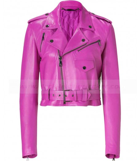 Hot Pink Jessica Alba Leather Jacket