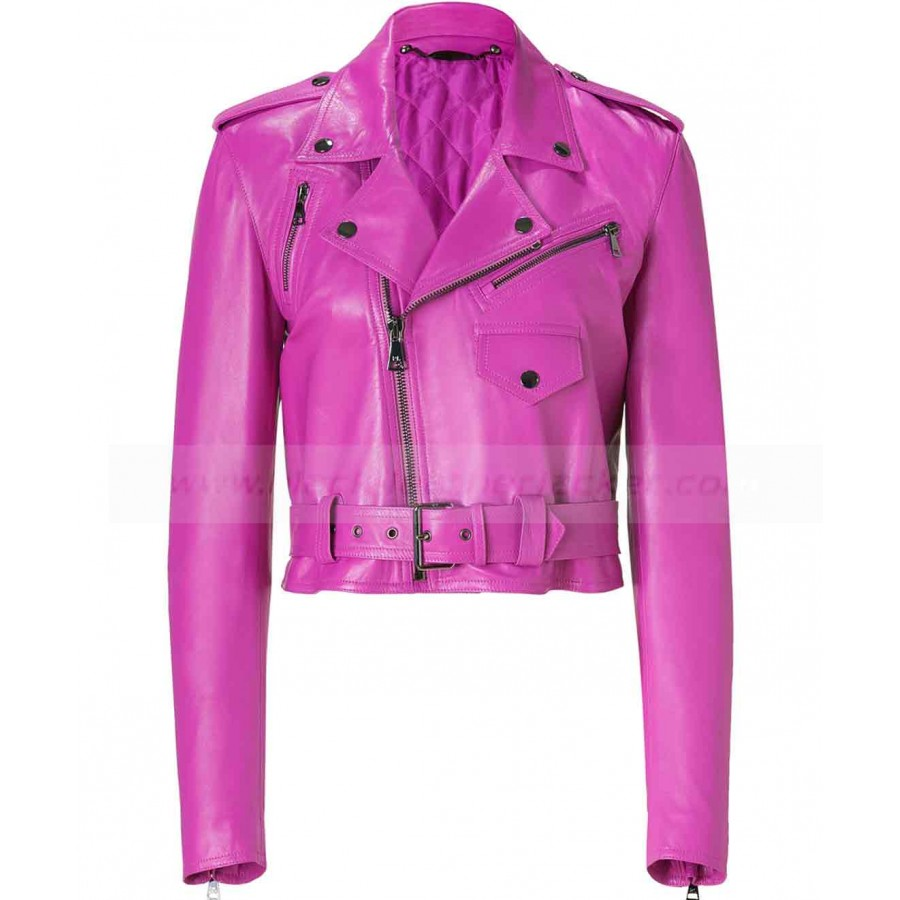 Jessica Alba Leather Jacket | Hot Pink Leather Jacket