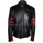 Hybrid Mayhem Brad Pitt Fight Club Black Leather Jacket