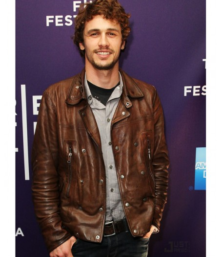 James Franco Biker Style Brown Leather Jacket for Men