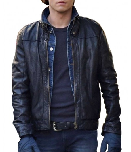 Jamie Blackley If I Stay Film Adam Black Leather Jacket