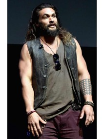 Justice League Promote Cinemacon Jason Momoa Leather Vest
