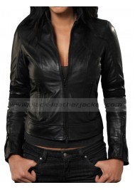 Jessica Alba Black Leather Jacket