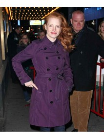 Jessica Chastain Purple Double Breasted Coat for Womens