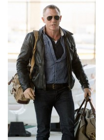 JFK Airport Daniel Craig Black Leather Jacket