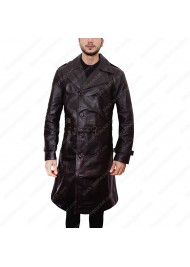 Jimmy Markum Long Black Leather Coat