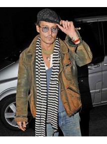 Johnny Depp Distressed Leather Green Jacket